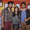 Gurmeet Choudhary, Sapna Pabbi and Ali Fazal pose during the Promotions of Khamoshiyan