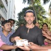 Hrithik Roshan was snapped cutting his Birthday Cake with fans