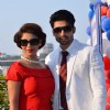 Gurmeet Choudhary and Debina Bonnerjee Choudhary pose for the media at Mid Day Race