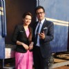 Rohit Roy and Samiksha Bhatnagar pose for the media at the Launch of 'Peterson Hill'