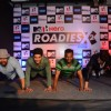 Celebs were snapped doing push ups at the Press Conference of MTV Roadies X2