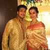 Bappa Lahiri poses with wife Tanisha Lahiri at their Saraswati Pooja