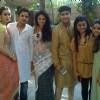 Celebs pose for the media at Bappi Lahiri's Saraswati Pooja