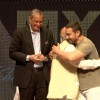 Aamir Khan greets a guest at YFG Event