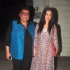 Simone Singh poses with Farhad Samar at the Special Screening of Badlapur