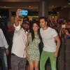 Varun Dhawan and Yami Gautam pose with fans at the Promotions of Badlapur at R City Mall