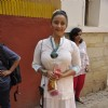 Divya Dutta poses for the media at Shabana Azmi's Holi Bash
