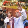 Javed Akhtar and Shabana Azmi pose for the media at the Holi Bash
