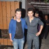 Varun Dhawan and Varun Sharma pose for the media at Karim Morani's Birthday Bash