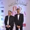 Abu Jani and Sandeep Khosla pose for the media at Femina Miss India Finals Red Carpet