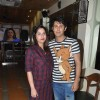 Sudeep Sahir poses with wife at the Launch Party of Dilli Wali Thakur Gurls