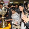 Tanuja lights the lamp at the Inauguration of Surya Mother & Child Care Hospital