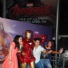 Shraddha, Varun and Sonakshi poses with Iron Man cosplay at  Avengers 2 Premiere