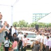 Akshay Kumar greets his fans at the Promotions of Gabbar Is Back in Delhi