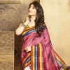 Kritika Kamra wearing white pink bhagalpuri silk printed saree with unstitch blouse