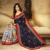 Kritika Kamra wearing Bollywood Style Black And Off White Colour Art Silk Printed Saree