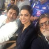 Amitabh Bachchan clicks a selfie with Deepika and Irrfan at Wankhede Stadium