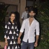 Shahid and Mira pose for the shutterbugs at their Mumbai Residence