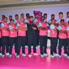 Abhishek bachchan Poses With the Team at Press Conference of Jaipur Pink Panthers