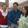 Radhika, Rajdeep and Kapil looking happy