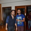 Mika Singh and Rahul Vaidya pose for the media at Suresh Wadkar's Birthday Bash