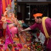Nitin Mukesh performs the rituals during Ganesh Puja