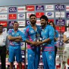 Suniel Shetty gives away trophy to the player at CCL Match in Banglore