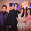 Asin Thottumkal and Micromax Founder Rahul Sharma Poses with friends at Wedding Reception