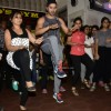 Varun Dhawan and Priyanka Chauhan during an event 'Workout session with Dishoom cast'