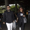 Raj Kundra and Shilpa Shetty with their son snapped at the airport