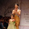 Sushmita Sen with her daughter Renee launches Neeta Lulla''s collection at the Lakme Fashion Week in Mumbai