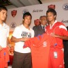 "Baichung Bhutia and Sunil Chhetri at the announcement of Coca-Cola India''s partnership with the All India Football Federation for the ""Coca-Cola Mir Iqbal Hussain Trophy"", in New Delhi on Tuesdayi 1 Sep 2009"