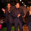 "Bollywood Actor Salman Khan with Designers Rohit Gandhi and Rahul Khanna at their show at the Van Heusen ""India Mens Week"" in New Delhi on Sunday"