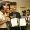 IGNOU vice chancellor Prof V N Rajasekharan and AEPC chairman Rakesh Vaid at the signing of the MOU on Monday New Delhi 12 oct 2009