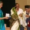 President Pratibha Devi Singh Patil presenting ''''Dadasaheb Phalke award 2007'''' to Manna Dey at Vigyan Bhawan, in New Delhi on Wednesday, also in photo I and B minister Ambika Soni