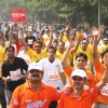 Participants at the Airtel Delhi Half Marathon,in New Delhi on Sunday ( Photo: IANS)