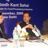 "Union Minister for Food Processing Industries Subodh Kant Sahai at the First National level Conference ""Meat and Poultry Processing Industry in India Potential and Challenges"" and Exhibiton, in New Delhi on Wednesday"