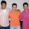 "Bollywood actors Sharman Joshi, Aamir Khan and R Madhavn at a press conference in Mumbai where they were promoting their upcoming movie ""3 Idiots"""