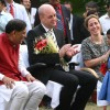 Sweden Prime Minister Fredrik Reinfeldt his wife Filippa Reinfeldt and social reformer Dr Bindeshwar Pathak with liberated scavenger''s children, in New Delhi on Friday 06 Nov 2009