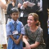 Sweden Prime Minister Fredrik Reinfeldt''s wife Filippa Reinfeldt with a liberated scavenger''s child in New Delhi on Friday 06 Nov 2009