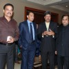 Cricketers Dilip Wengerksar, Mohammad Azharuddin and Kapil Dev at the bash of Videocon''s Aniruddh Dhoot