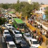 Traffic Jam at Mathura Road during India International Trade Fair at Pragati Maidan in New Delhi on Thursday 26 Nov 2009
