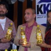 "Renowned Tollywood actors Saheb Chatterjee and Paoli Dam with Kausshik Kumar Nath, Managing Director of ""KKN Group of Companies"" at the unveiling of the product at a press conference in Kolkata on Thursday"