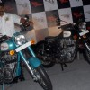 "Shaji Koshy, Head Sales and Marketing, Royal Enfield display the models ""Classic 350 and Classic 500"" in Kolkata on Friday 27 Nov 09"