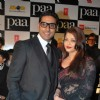 "Bollywood actors Abhishek Bachchan with wife Aishwarya Rai Bachchan at the premiere of film ""Paa"""
