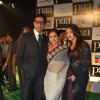 "Bollywood actors Abhishek Bachchan with Vidya Balan and Aishwarya Rai Bachchan at the premiere of film ""Paa"""