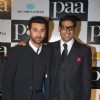 "Bollywood actors Ranbir Kapoor and Abhishek Bachchan at the premiere of film ""Paa"""