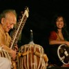 Sitar player Pt Ravi Shankar and his daughter Anoushka Shankar at the concert ''''Music in the Park'''', in New Delhi on Saturday (IANS: Photo)