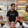A final Miss India participant getting hair spa at Bigune Spa at Bandra