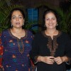 TV actress Reema Lagoo with a friend at the success bash of Marathi film ''Janma'' at Blue Waters